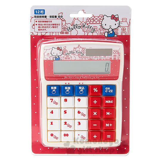 〔小禮堂〕Hello Kitty 計算機《M.白紅.側坐.房屋》12位元 4901610-92733