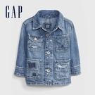 Gap嬰兒 棉質水洗胸袋翻領牛仔外套 595627-水洗藍