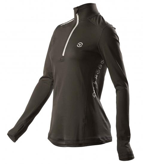 免運送手機臂套 VIRUS 美國百樂仕 慢跑/登山/打球/健身 女子咖啡紗長袖半拉鍊功能性保暖衣 ESiO1