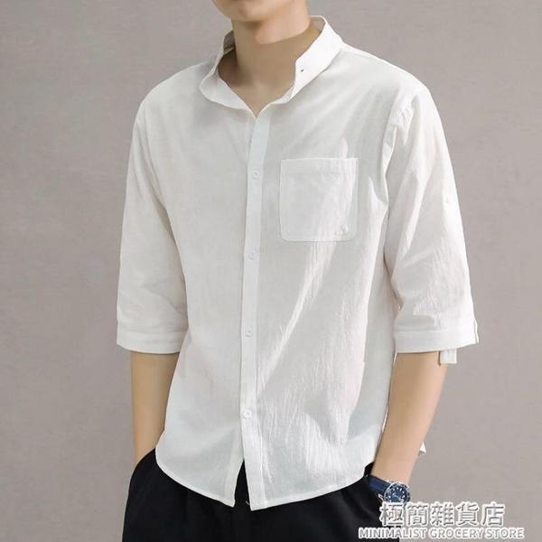 亞麻襯衫男短袖襯衣寬松男裝中國風夏季薄款棉麻休閑五分袖男上衣 極簡雜貨