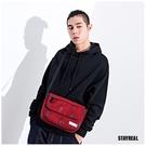【橘子包包館】STAYREAL 字母帆布側背包 BI20029 暗紅 側背包 斜背包