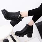 馬丁靴 2021春秋新款馬丁靴女時尚歐美英倫休閒高跟粗跟純色復古短筒靴子 美物