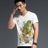 短袖T恤男 韓版休閒上衣 潮流 夏季中國風龍印花短袖T恤個性圖案半袖T恤wx3545