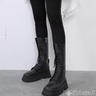 長筒靴黑色機車靴女2020春秋單靴英倫風厚底百搭馬丁靴中高筒騎士長靴子 潮人