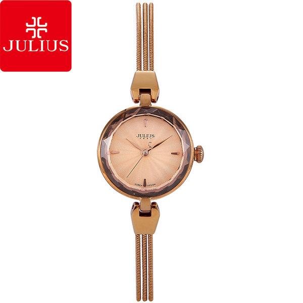 JULIUS 聚利時 艾莉兒的海螺貝殼面鍊飾腕錶-古銅金/25mm 【JA-717E】