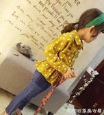 女童長袖襯衫-女童春秋新款休閒波點小翻領上衣  女寶寶氣質收腰荷葉邊襯衫 糖糖日系