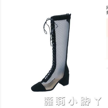 靴子女2019夏季新款百搭網紗鏤空羅馬粗跟涼鞋透氣高跟長筒靴   蘿莉小腳丫