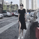 網路同款連衣裙免運夏季新款短袖黑色開叉長...