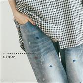 褲子  繽紛三角刺繡刷色牛仔長褲  單色-小C館日系