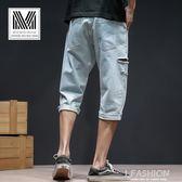 男士破洞牛仔短褲夏季薄款闊腿褲中褲韓版潮流寬鬆7七分牛仔褲男-ifashion