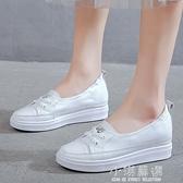 軟皮內增高小白鞋女2020年新款夏季薄款百搭厚底淺口豆豆單鞋板鞋『小淇嚴選』