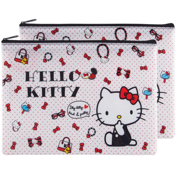 hello kitty資料收納袋 KT貓A5拉鍊文件袋 卡通塑膠文具袋(2入)