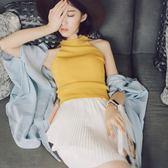 韓版學生百搭修身無袖短款露臍外穿掛脖式上衣吊帶針織小背心女夏『櫻花小屋』