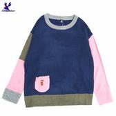 【秋冬降價款】American Bluedeer - 撞色接拼針織上衣(魅力價) 秋冬新款