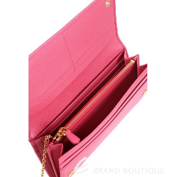 PRADA Saffiano 金三角牌釦式長夾(蜜桃色/附可拆式證夾) 1720477-42