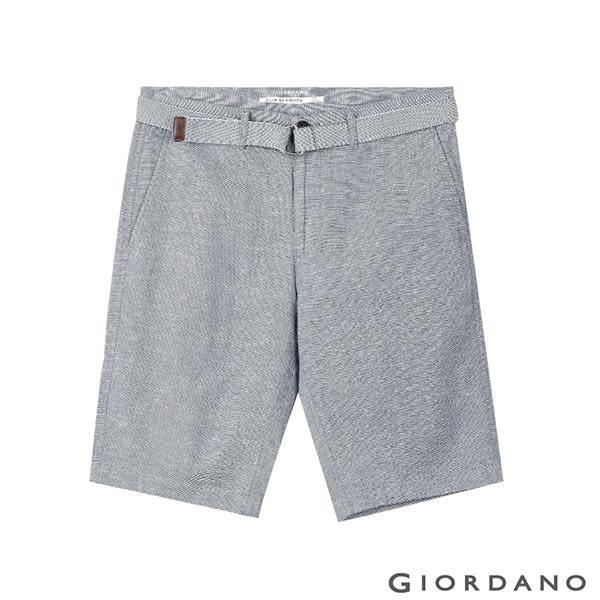 【GIORDANO】男裝附腰帶素色棉麻休閒五分褲- 91 黑白網格