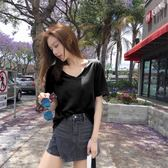 短袖T恤 黑色短袖女t恤新款夏裝純色純棉v領上衣寬鬆半袖網紅同款體恤 唯伊時尚