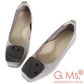 G.Ms. MIT系列-牛皮金屬方釦方頭娃娃鞋-灰色