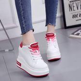 內增高女鞋超高跟12cm夏季厚底鬆糕運動鞋系帶休閒鞋學生小碼單鞋