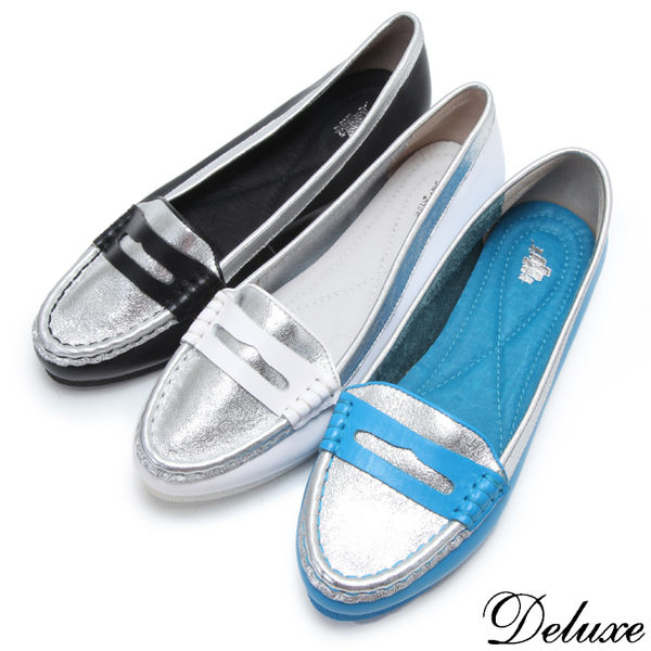 【Deluxe】全真皮魅力之星閃耀拼接休閒鞋(銀☆黑☆藍)