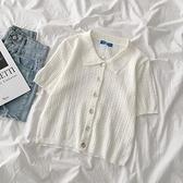 百搭純色針織衫2020年夏季新款女裝寬鬆減齡翻領短袖開衫薄款上衣 酷男精品館
