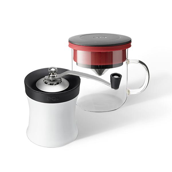 【PO:Selected】丹麥DIY手沖咖啡二件組(手動式研磨器/咖啡玻璃杯350ml 2.0-共4色)
