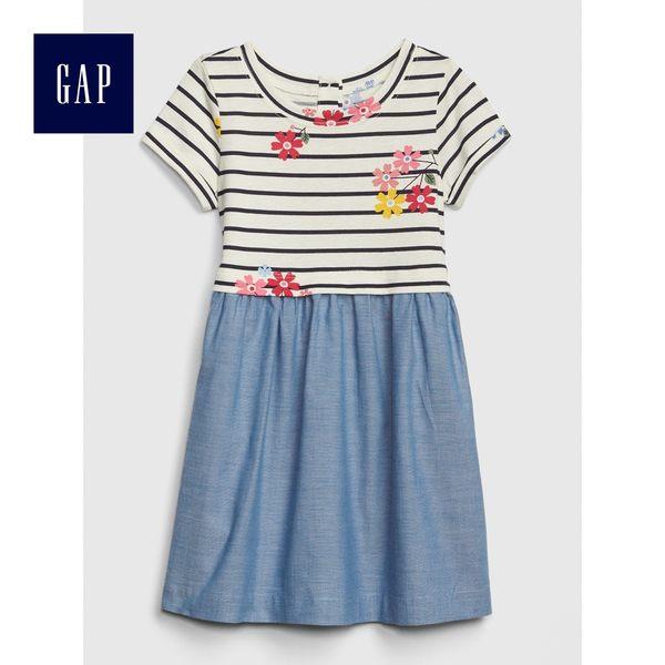 Gap女嬰幼童 柔軟拼接圓領短袖洋裝 461756-象牙白