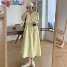 短袖洋裝 胖妹妹夏天顯瘦長裙2021新款大碼法式短袖連身裙女v領氣質小裙子 新品新品