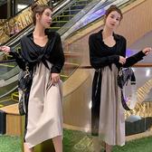 【MK0327】兩件式配色拼接雪紡外罩衫吊帶裙
