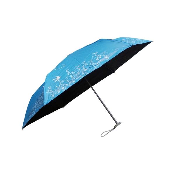 799 特價 雨傘 陽傘 萊登傘 抗UV 扁傘 口袋傘 黑膠 色膠三折傘 直開 不夾手 Leotern 飛燕(海藍)