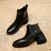 高跟切爾西短靴女秋冬季新款百搭靴子女鞋中跟粗跟鉚釘馬丁靴LX聖誕交換禮物