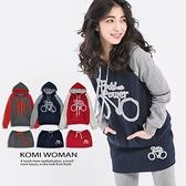 【南紡購物中心】KOMI-厚棉內刷毛連帽運動風短裙套裝組‧三色