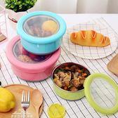 日式小學生成人不銹鋼圓形單層飯盒 寶寶兒童密封水果保鮮便當盒「夢娜麗莎精品館」