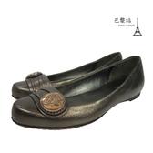【巴黎站二手名牌專賣店】*現貨*GUCCI 古馳 真品*金屬釦平底包鞋 (36號)