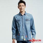 BOBSON 男款彩色補丁水洗襯衫(36002-53)