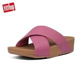 當季熱銷款【FitFlop】LULU LEATHER CROSS SLIDES 經典交叉涼鞋-女(櫻花粉)