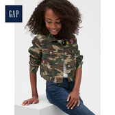 Gap女童休閒迷彩長袖短款牛仔外套492885-綠色迷彩