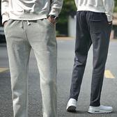 秋冬季薄款寬鬆男士運動褲男加絨厚款直筒衛褲針織大碼休閒長褲子