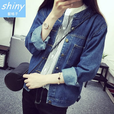 【V4370】shiny藍格子-時尚個性.簡約立領大口袋休閒長袖牛仔外套