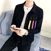 男士韓版外套男修身潮流牛仔夾克男裝帥氣百搭上衣服 「潔思米」