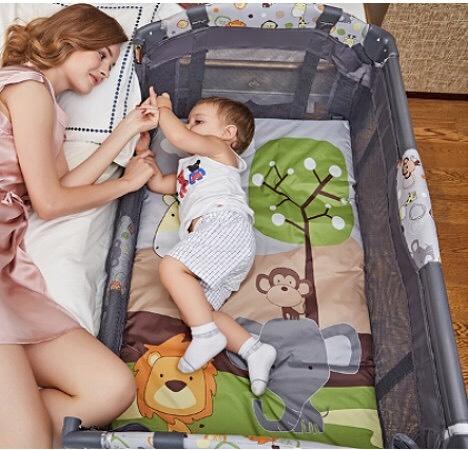 中華批發:附蚊帳雙層遊戲床單邊升降嬰兒床