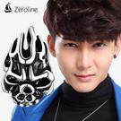925銀飾男士耳釘 單只 韓國 火焰骷髏頭 朋克潮男個性耳飾品 魔法街