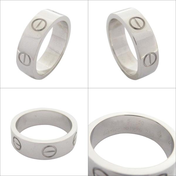 Cartier 卡地亞 LOVE系列18K白金戒指 Ring K18WG 50號 【二手名牌BRAND OFF】