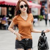 工廠直銷不退換~實拍夏季韓版V領短袖T恤女純色棉百搭大碼修身顯瘦上衣學生369FN1FA029紅粉佳人