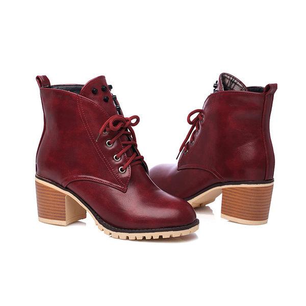 丁果、靴子35-39►時尚皮革英倫高跟短靴*3色