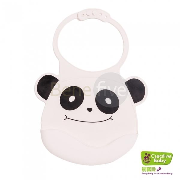 Creative Baby 創寶貝 可收納式攜帶防水無毒矽膠學習圍兜_微笑熊貓