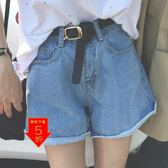 下殺5折 牛仔短褲  韓國新款高腰顯瘦熱褲女士牛仔短褲17 『伊莎公主』