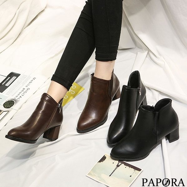 PAPORA時尚亮皮短靴KYK753黑/棕