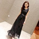 春秋韓版黑色無袖鏤空蕾絲連身裙收腰顯瘦打底A字裙 伊蒂斯女裝