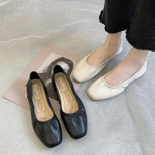 奶奶鞋2020春秋平底方頭樂福鞋兩穿一腳蹬懶人搭豆豆鞋淺口單鞋女 【蜜糖sugar】